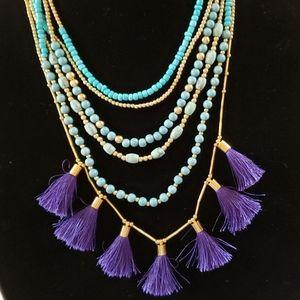 Inc turquoise/purple tassel necklace
